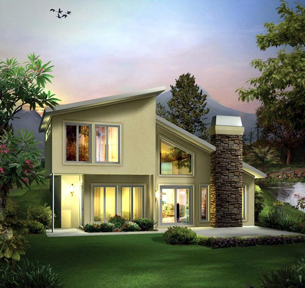 Elevation of Contemporary   Earth Sheltered s House Plan 95911