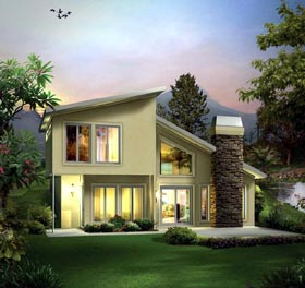 Contemporary , Earth Sheltered House Plan 95911 with 2 Beds, 2 Baths Elevation