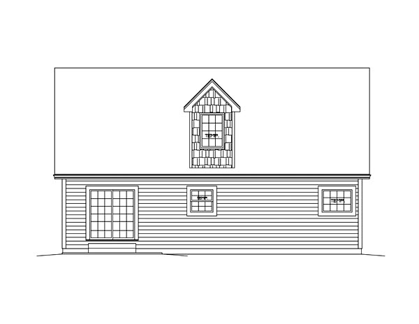 Bungalow Cape Cod Cottage Country House Plan 95954 Rear Elevation