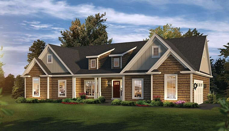 Country Craftsman Ranch Traditional House Plan 95961 Elevation