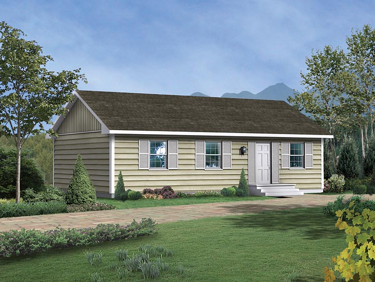 Cabin, Ranch House Plan 95981 with 3 Beds, 1 Baths Elevation