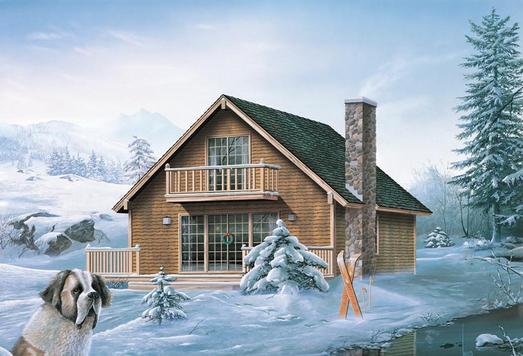 Cabin, Contemporary, Traditional House Plan 95993 with 4 Beds, 2 Baths Elevation