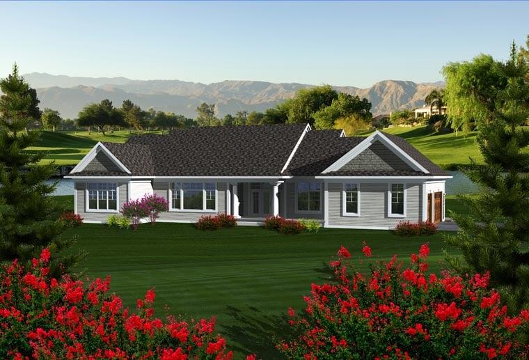 Craftsman Ranch House Plan 96104 Rear Elevation