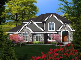 House Plan 96112 with 3 Beds, 4 Baths, 4 Car Garage Elevation