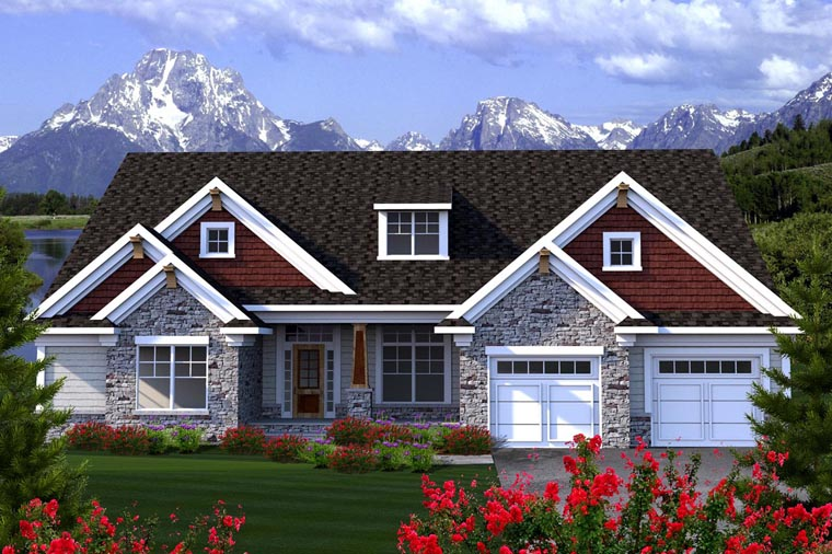 ranch house plan 96128 elevation