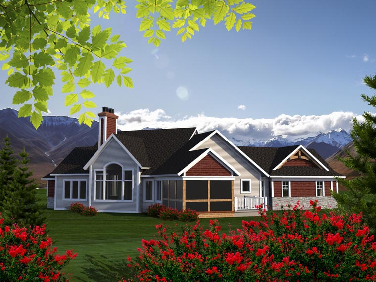 Ranch House Plan 96153 Rear Elevation