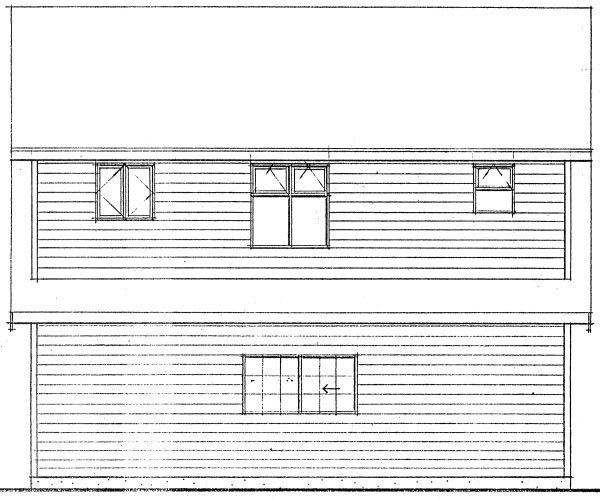 Cape Cod, Traditional 2 Car Garage Apartment Plan 96220 with 1 Beds, 1 Baths Rear Elevation
