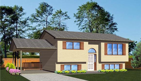 Ranch, Retro House Plan 96221 with 2 Beds, 1 Baths, 1 Car Garage Elevation