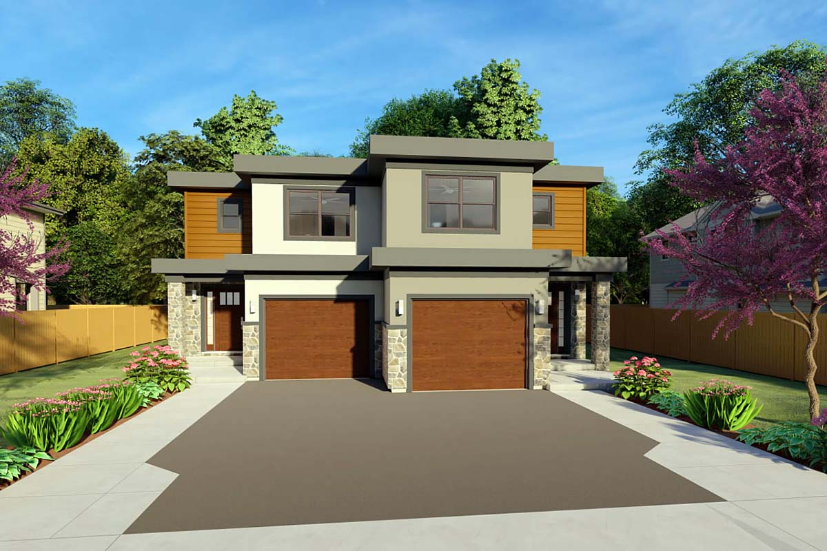 Multi family plan 96223 at for Triplex plans for narrow lots
