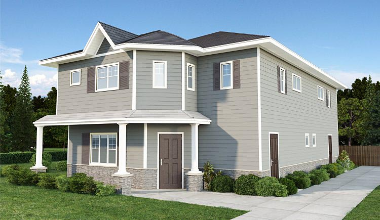 Traditional Multi-Family Plan 96232 Elevation