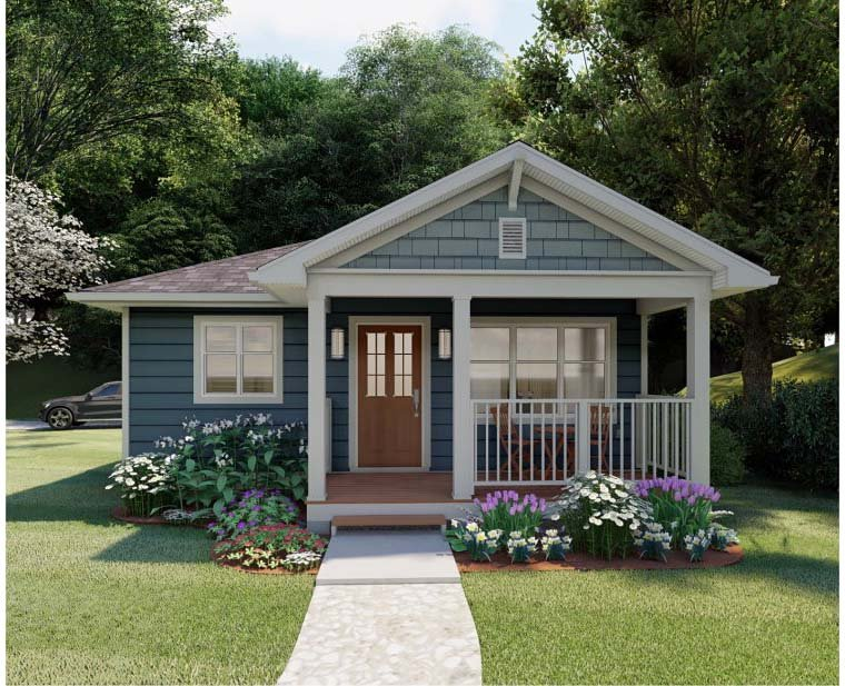 House Plan 96235 - Craftsman Style with 624 Sq Ft, 1 Bed, 1 Bath