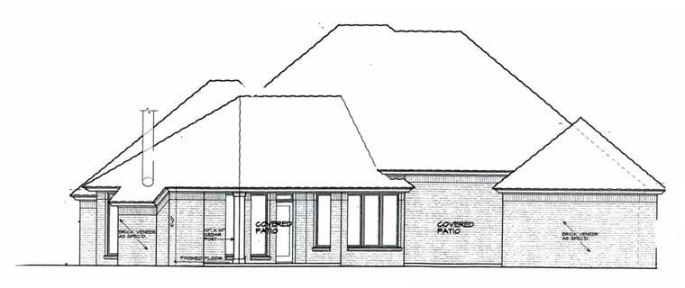 European House Plan 96300 Rear Elevation