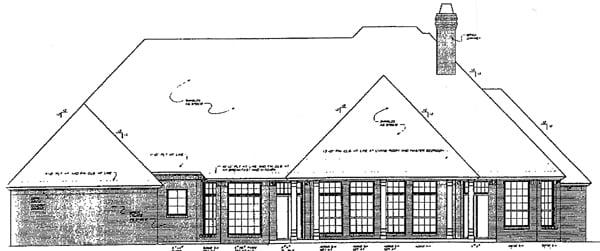 European Tudor House Plan 96326 Rear Elevation