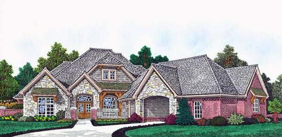 Craftsman, European, French Country House Plan 96345 with 4 Beds, 5 Baths, 4 Car Garage Elevation