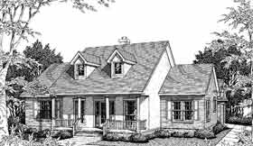 Cape Cod, Country, One-Story House Plan 96507 with 3 Beds, 2 Baths, 2 Car Garage Elevation