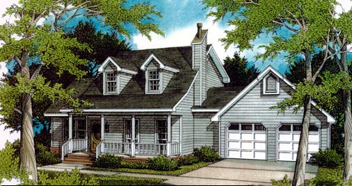 Cape Cod, Country House Plan 96545 with 3 Beds, 2 Baths, 2 Car Garage Elevation
