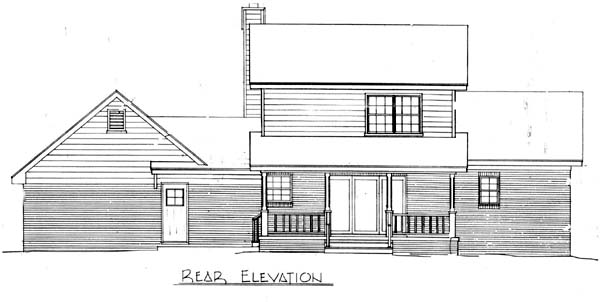 Cape Cod, Country House Plan 96545 with 3 Beds, 2 Baths, 2 Car Garage Rear Elevation