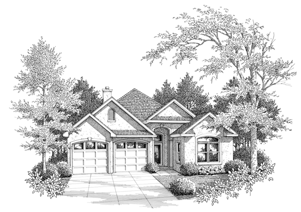 European House Plan 96554 Elevation