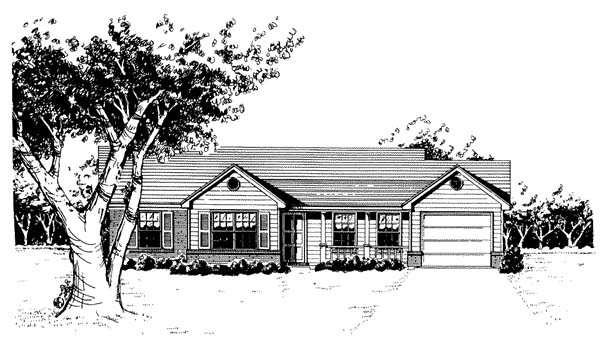 One-Story, Ranch House Plan 96565 with 3 Beds, 2 Baths, 1 Car Garage Elevation