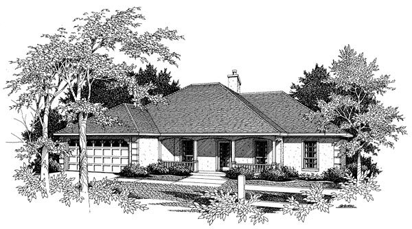 European, One-Story House Plan 96577 with 3 Beds, 2 Baths, 2 Car Garage Elevation