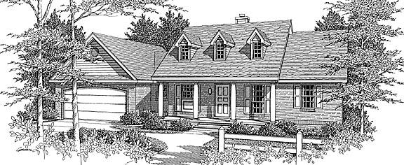 European Farmhouse House Plan 96708 Elevation