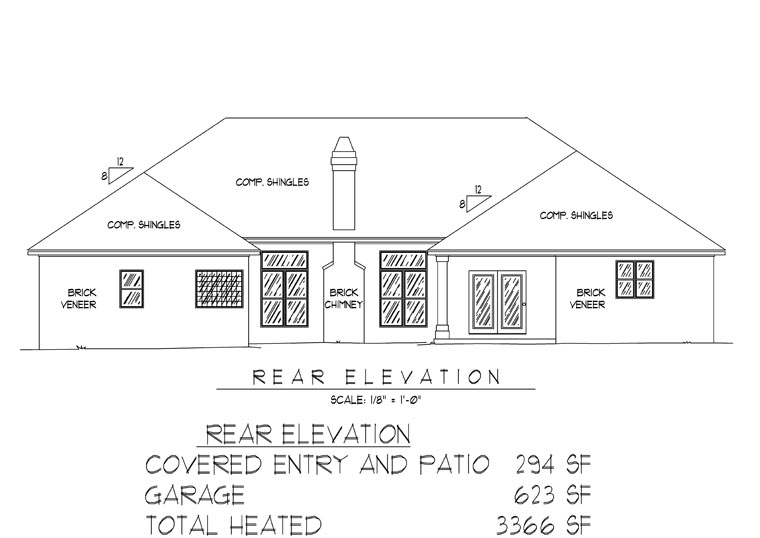 Traditional House Plan 96817 Rear Elevation