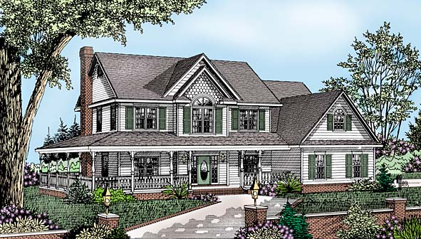 Country, Farmhouse House Plan 96829 with 4 Beds, 3 Baths, 2 Car Garage Elevation