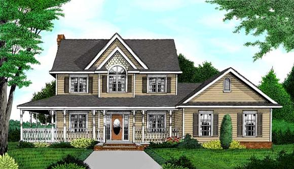 Country, Farmhouse House Plan 96832 with 4 Beds, 4 Baths, 3 Car Garage Elevation