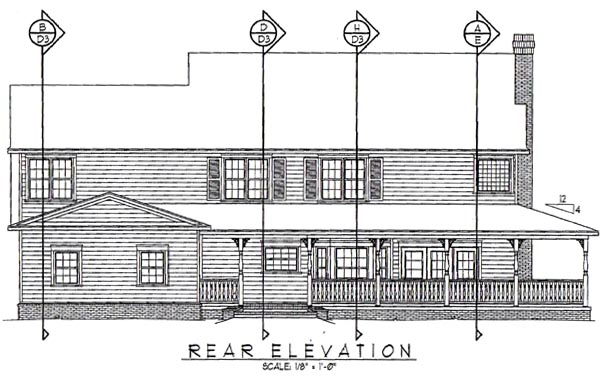 Country Farmhouse House Plan 96861 Rear Elevation