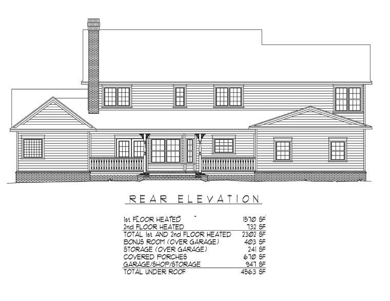Country Farmhouse House Plan 96865 Rear Elevation