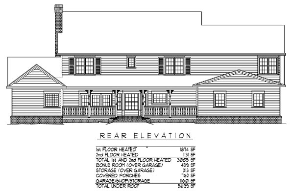 Country Farmhouse Traditional House Plan 96880 Rear Elevation