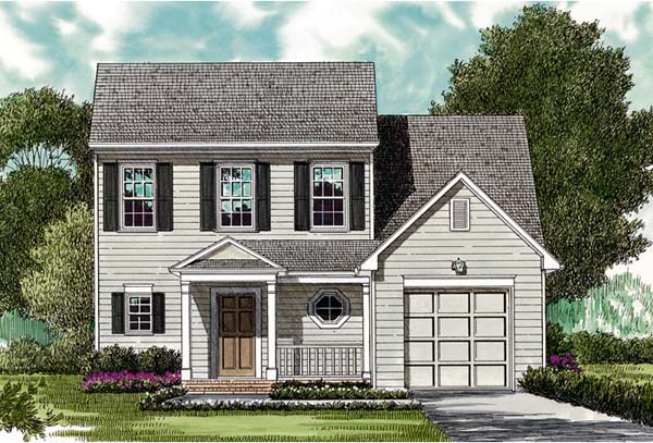 Colonial House Plan 96921 with 3 Beds, 3 Baths, 1 Car Garage Elevation