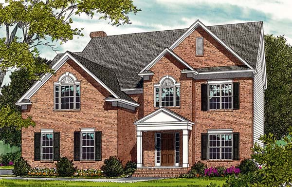 Colonial, Traditional House Plan 96947 with 3 Beds, 3 Baths, 2 Car Garage Elevation