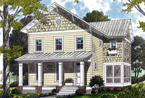 Elevation of Cottage   Craftsman   House Plan 96957