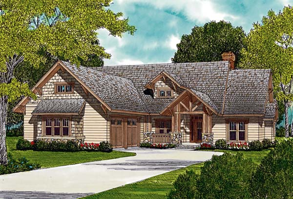 Bungalow, Cottage, Craftsman House Plan 96965 with 3 Beds, 4 Baths, 2 Car Garage Elevation