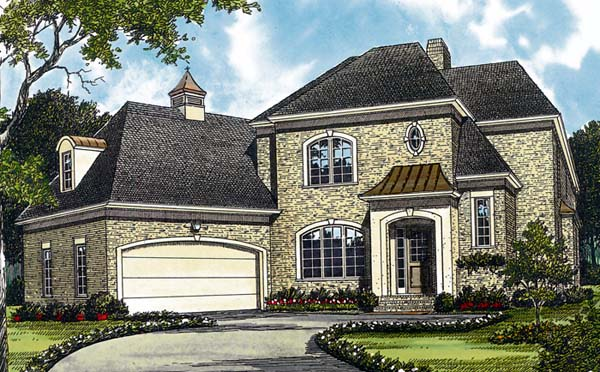 European House Plan 97021 with 4 Beds, 4 Baths, 2 Car Garage Elevation