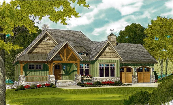 cottage craftsman french country house plan 97044 elevation - French Country Cottage House Plans
