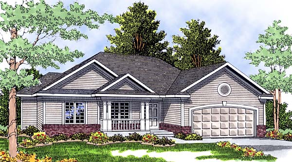 European House Plan 97137 with 3 Beds, 2 Baths, 2 Car Garage Elevation
