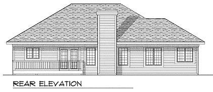 European House Plan 97137 with 3 Beds, 2 Baths, 2 Car Garage Rear Elevation