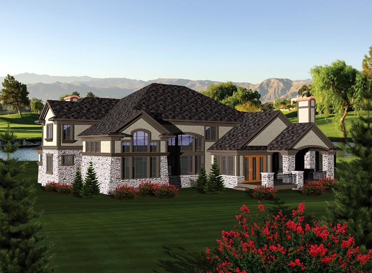 Tuscan House Plan 97158 with 4 Beds, 5 Baths, 4 Car Garage Rear Elevation