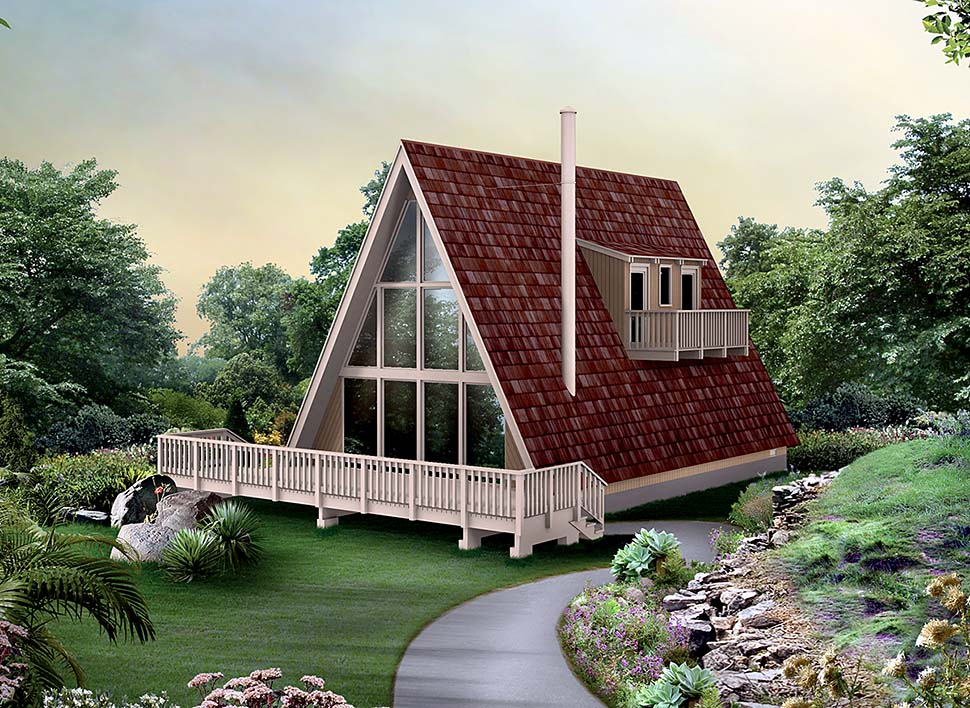 A-Frame, Contemporary, Cottage House Plan 97241 with 3 Beds, 1 Baths Elevation