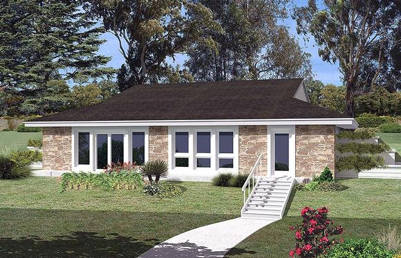 Contemporary, Earth Sheltered, European, French Country, Ranch House Plan 97253 with 3 Beds, 1 Baths Elevation