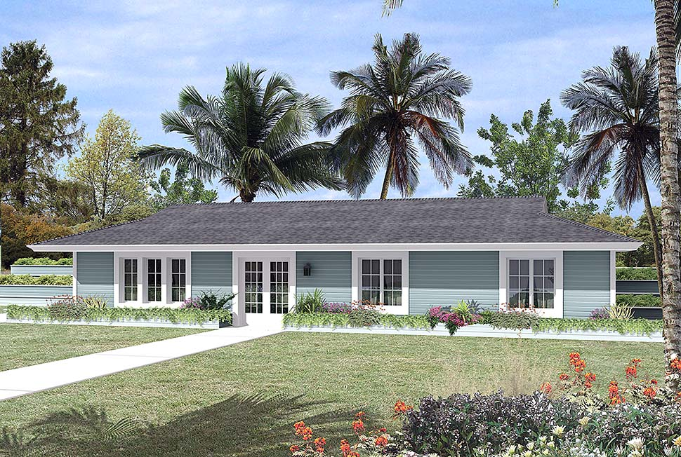 Contemporary, Earth Sheltered, Ranch House Plan 97254 with 3 Beds, 2 Baths Elevation