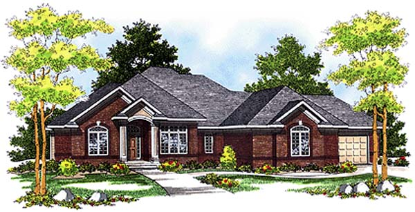 One-Story, Traditional House Plan 97312 with 3 Beds, 3 Baths, 3 Car Garage Elevation
