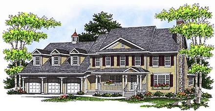 Colonial, Country House Plan 97327 with 3 Beds, 4 Baths, 3 Car Garage