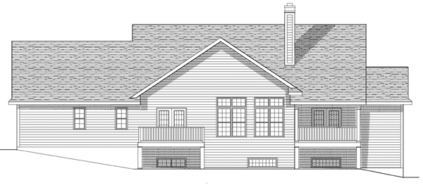 Country House Plan 97340 with 4 Beds, 4 Baths, 2 Car Garage Rear Elevation