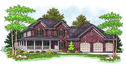 Farmhouse House Plan 97350 with 4 Beds, 4 Baths, 3 Car Garage