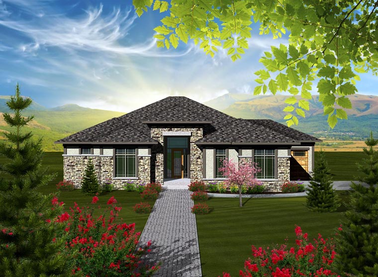 Prairie House Plan 97362 with 2 Beds, 3 Baths, 3 Car Garage Elevation