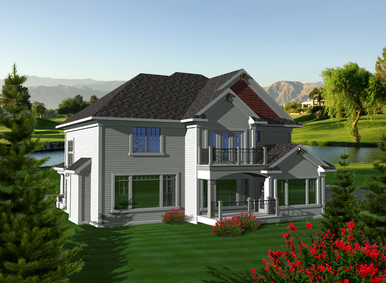 Traditional House Plan 97372 with 4 Beds, 4 Baths, 3 Car Garage Rear Elevation