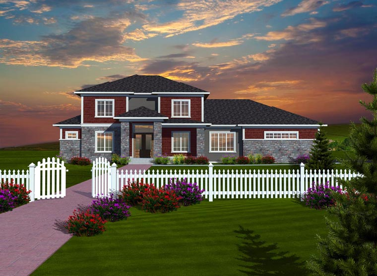 Elevation of Prairie Style   Traditional   House Plan 97376